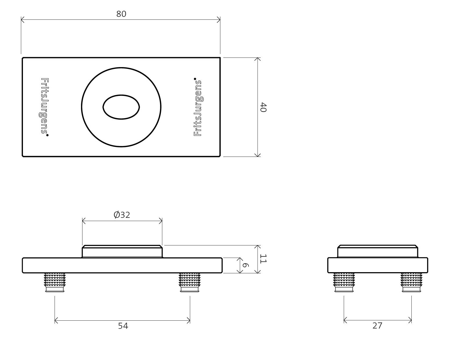 Floor plate flush square